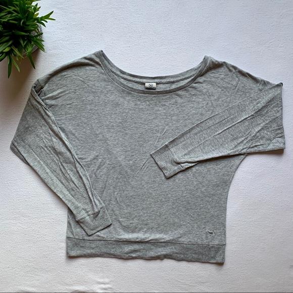PINK Crewneck Grey Long Sleeve Shirt